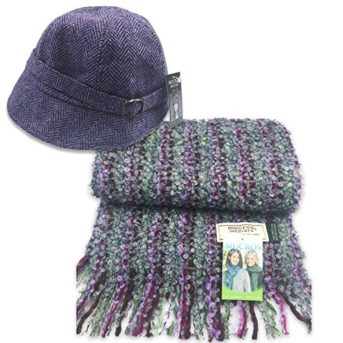 Mucros Flapper Hat (Purple) and Mohair Viscose Scarf Set (Purple and Green) by Mucros Weavers