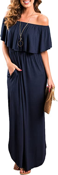 Womens Off The Shoulder Ruffle Party Dresses Side Split Beach Maxi Dress Navy L best women's sundresses