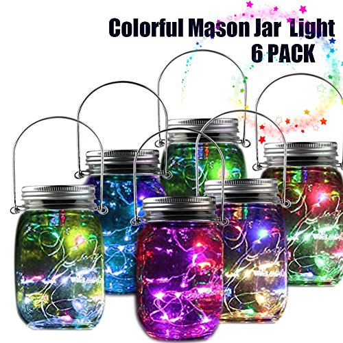 Mason jar lights solar powered chandelier fairy starry led twinkle mason jar lights solar powered chandelier fairy starry led twinkle lamp with lid color changing flickering gardern house home tabletop hanging novelty mozeypictures Gallery