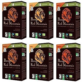 Bonga Red Mountain Bio Wildkaffee Kapseln 6er Set (2 x Espresso, 2 x Ristretto, 2 x Lungo), 330 g