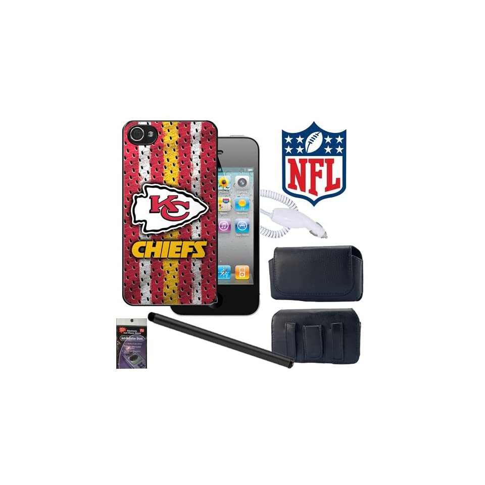 iPhone 4s, 4 Kansas City Chiefs NFL Team Snap on Cover with Case that fits the Phone with the Cover on it, Stylus Pen, Car Charger and Radiation Shield.