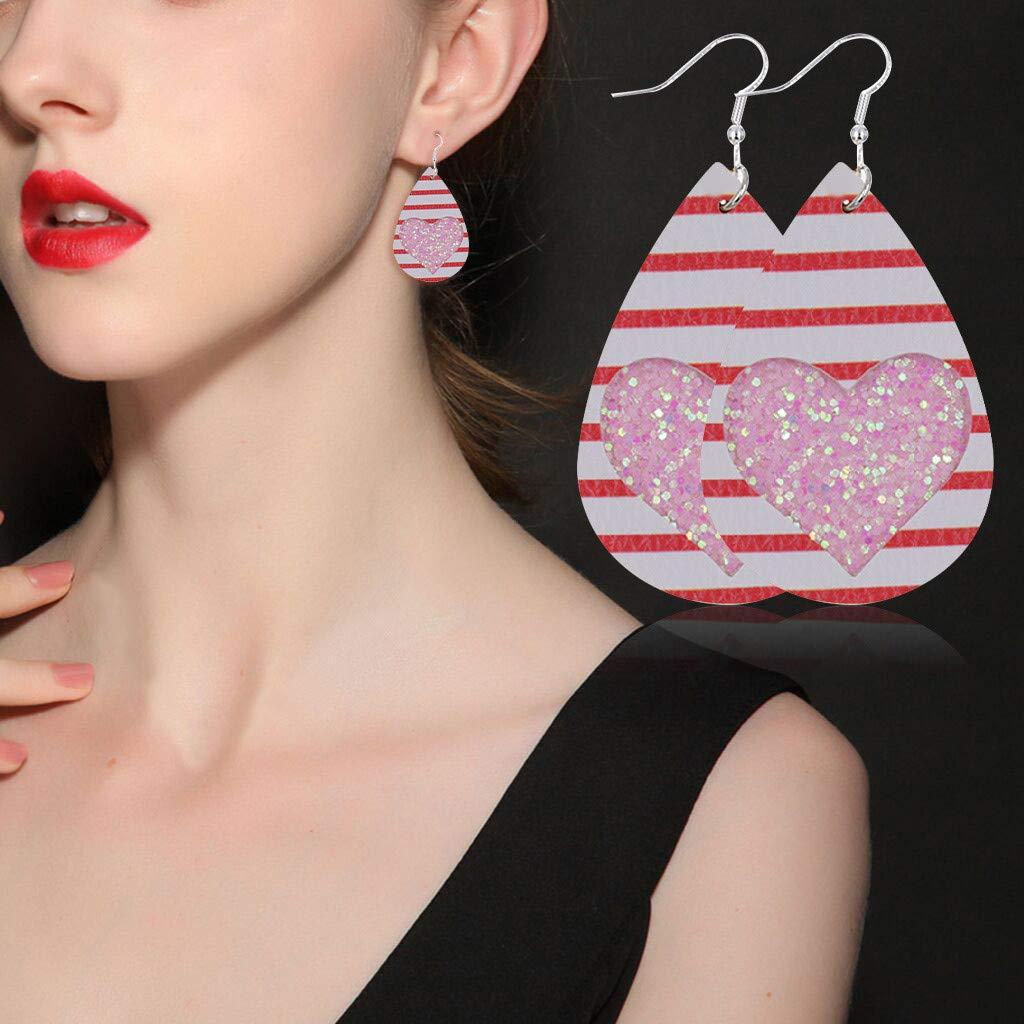 Karamoda Leather Earrings Heart-Shaped Drop Dangler Lightweight Cute Faux Leather Eardrop for Women Girls