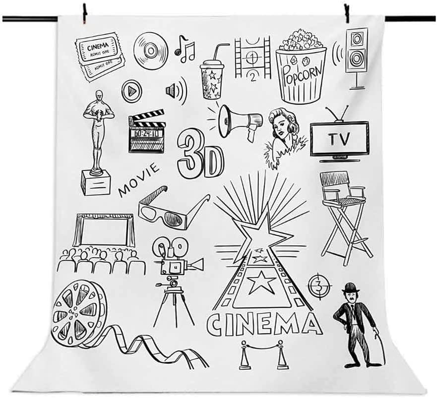 Movie Theater 10x15 FT Backdrop Photographers,Hand Drawn Symbols of Hollywood Oscar 3D Glasses Sketch Style Arrangement Background for Photography Kids Adult Photo Booth Video Shoot Vinyl Studio Props