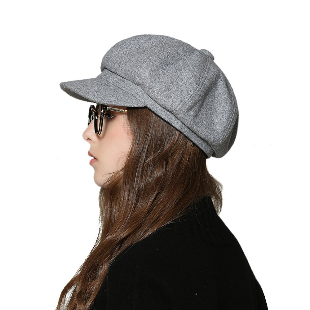 Womens Newsboy Hat Beret Cap Visor Hats for Ladies Wool Newsboy Beret Cap