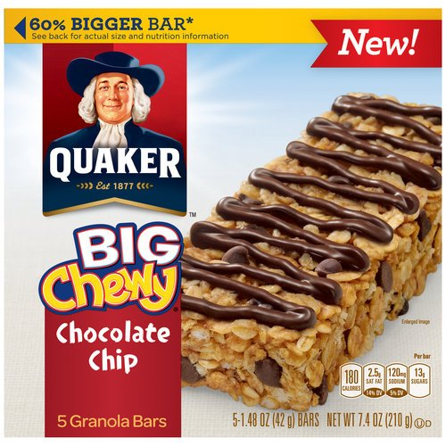 Quaker Big Chewy Chocolate Chip Granola Bars 7.4 OZ (Pack of 24) by Quaker