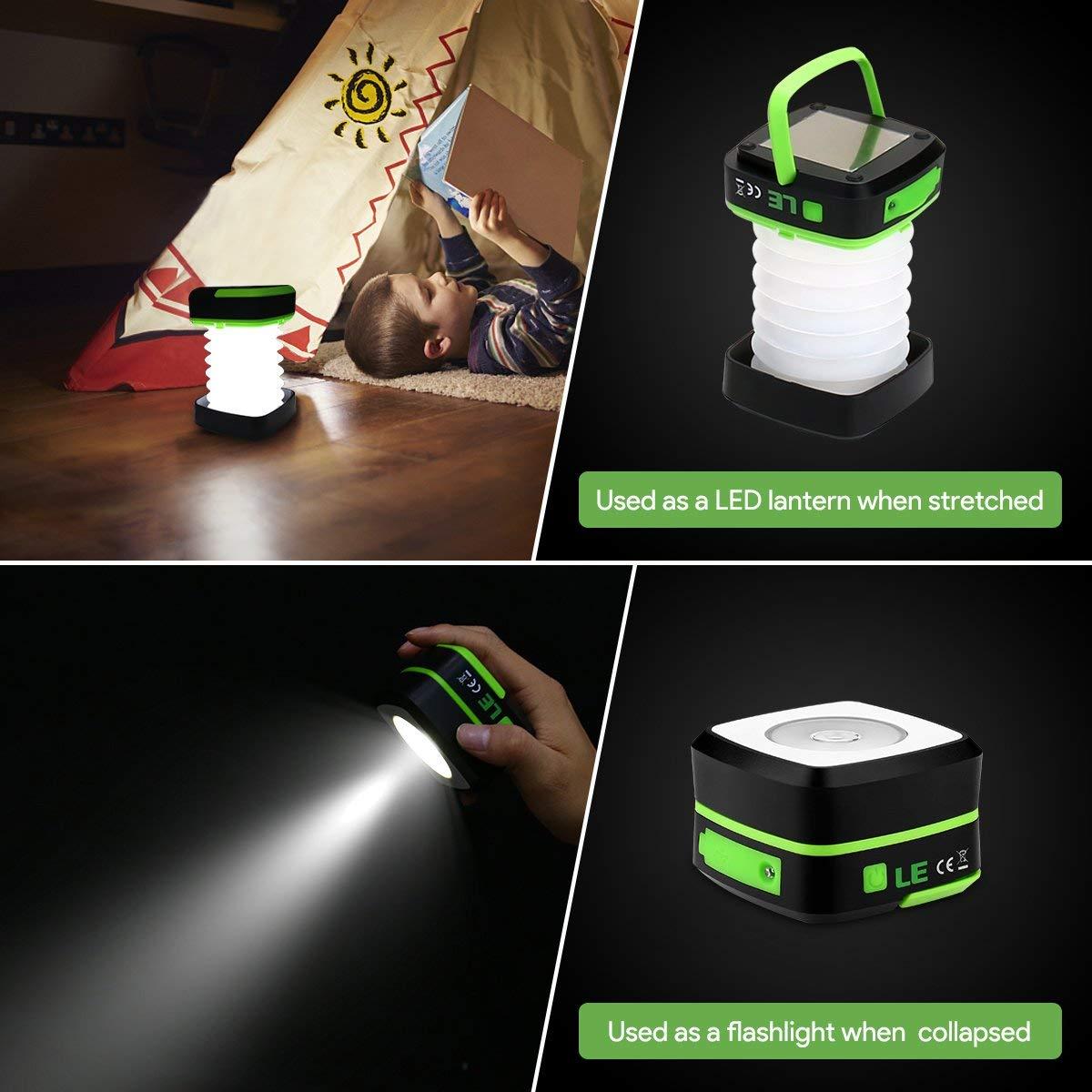 LE L/ámpara Camping LED USB Recargable Farol Camping 3 Modos 120lm IPX4 Impermeable Pesca Luz Camping Plegable para Carpa Emergencia y M/ás