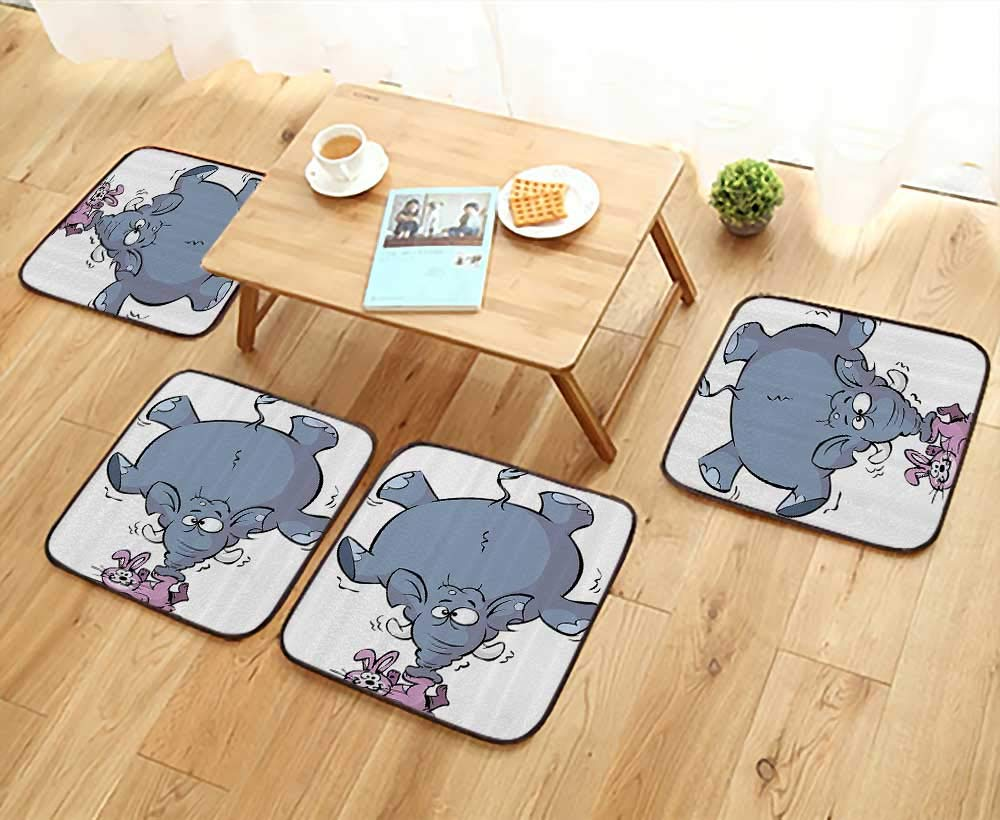 Printsonne Modern Chair Cushions Rabbit BalancingElephant Funny Mascot Animals Carto Creatures Circus Convenient Safety and Hygiene W23.5 x L23.5/4PCS Set by Printsonne