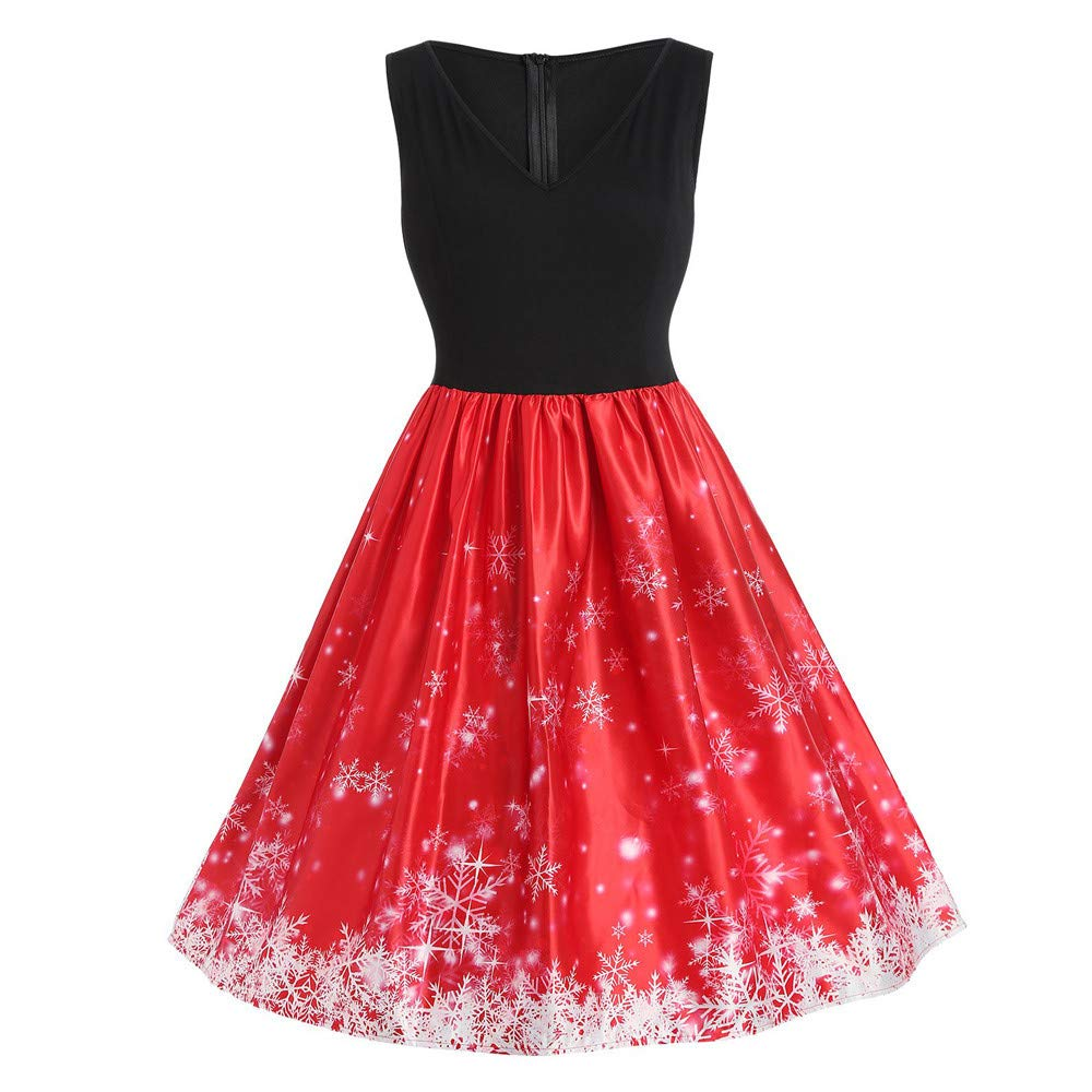 fe52366b4fe5 HYIRI Xmas Christmas Elegant Dresses, Womens Santa Claus Printed Gifts Xmas  Sleeveless Ugly Party Dress at Amazon Women's Clothing store: