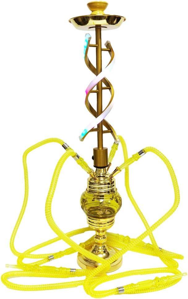 ZXCVASDF Narguile, Juego Completo de Shisha con Luces de neón, 4 mangueras, extracción Suave y Mejor filtración, para familias, Bares, Clubes, Discoteca,Amarillo