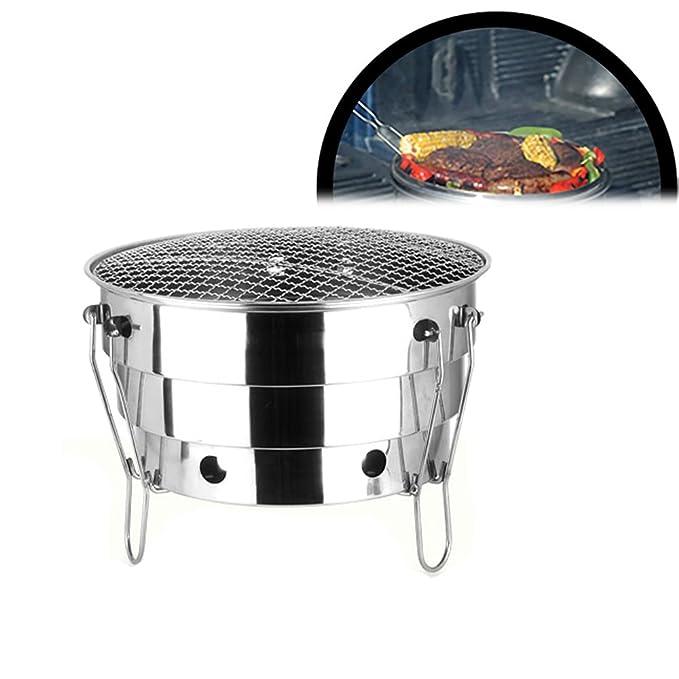 begrit barbacoa de carbón plegable portátil de acero inoxidable camping Grill con bolsa de transporte): Amazon.es: Jardín