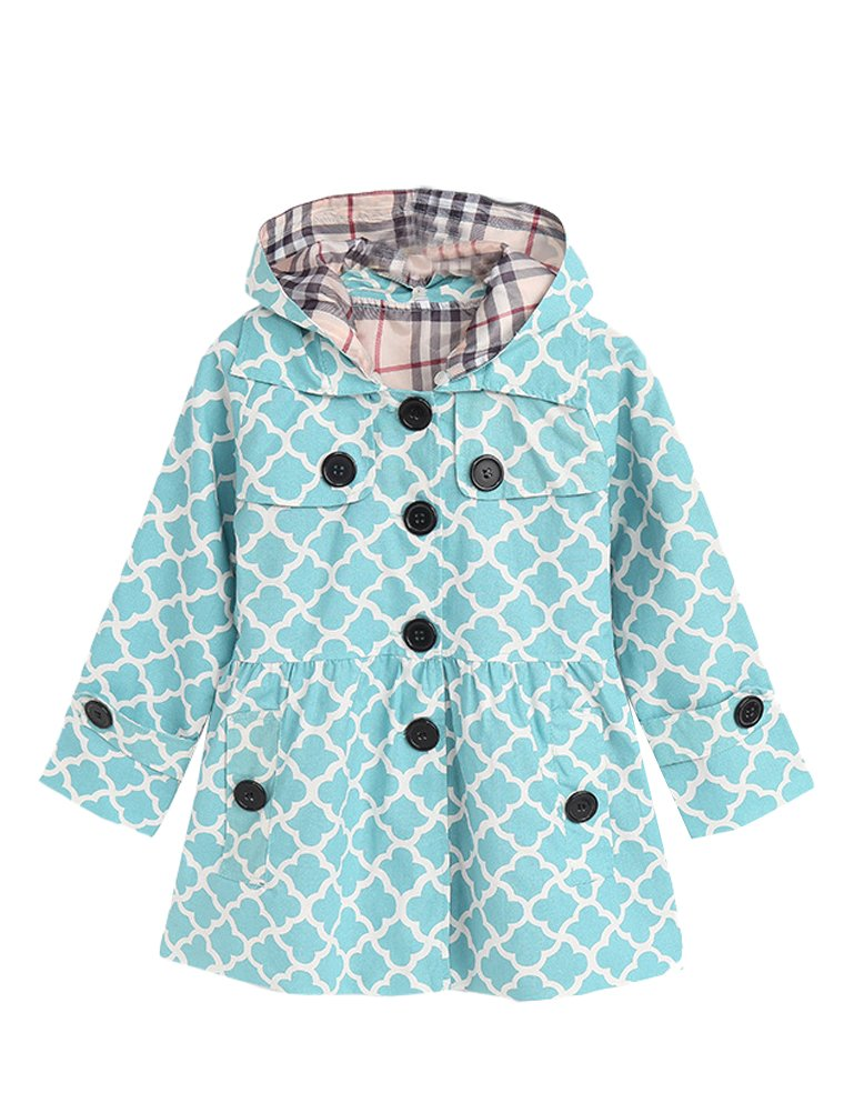 Mallimoda Girl's Hooded Trench Coat Jacket Dress Windbreaker Outwear Light Blue 10-11 Years by Mallimoda