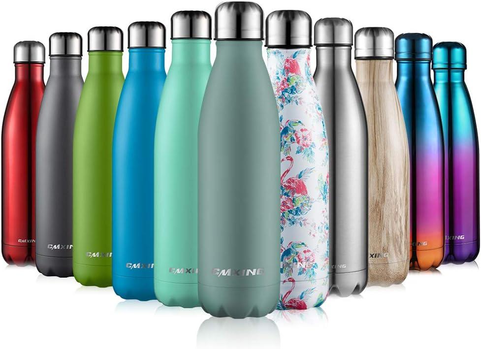 CMXING Botella De Agua 500ML/750ML de Doble Pared con Aislamiento de Botella de Agua de Acero Inoxidable Deportiva Botella Acero Inoxidable Térmica