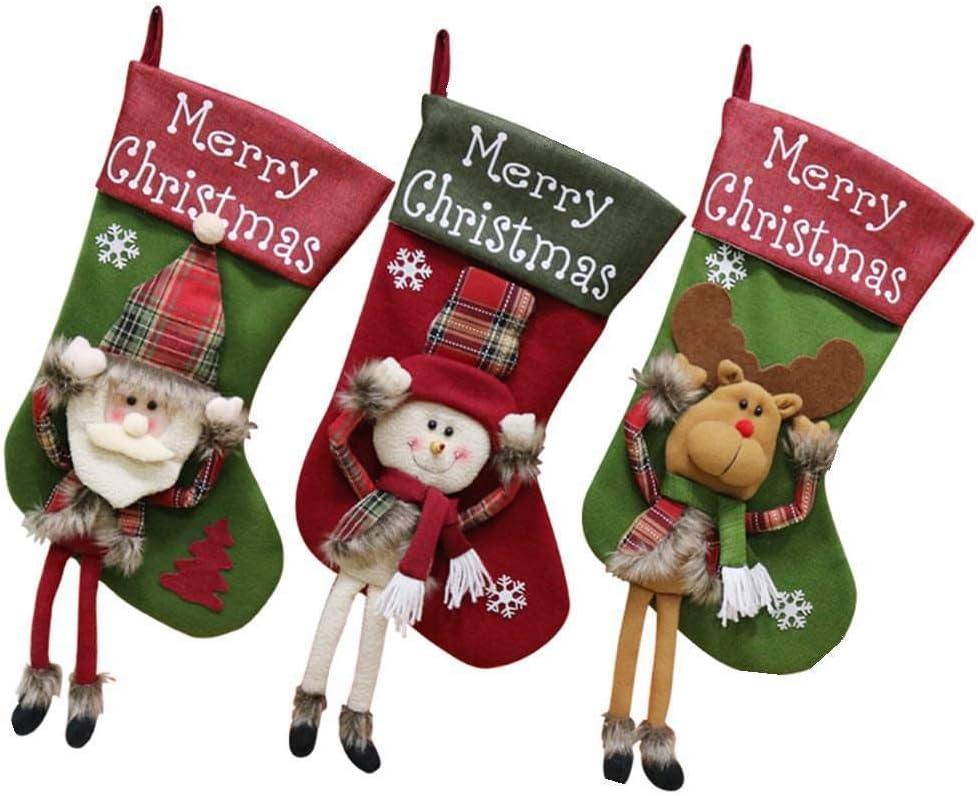 Half Flower Bridal Christmas Stocking,3 Pcs Set Santa,Snowman,Reindeer,Decorations Gift for Child Holding Home Decors Tree Ornament