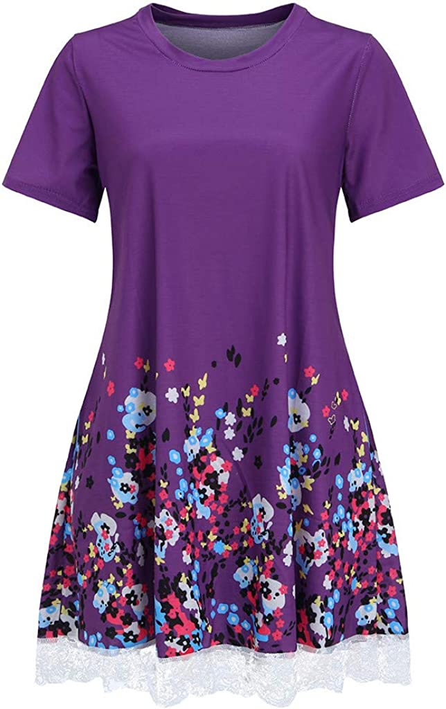 Quealent Womens Summer Casual Swing T-Shirt Dresses Short Sleeve Floral Lace Beach Cover up with Pockets