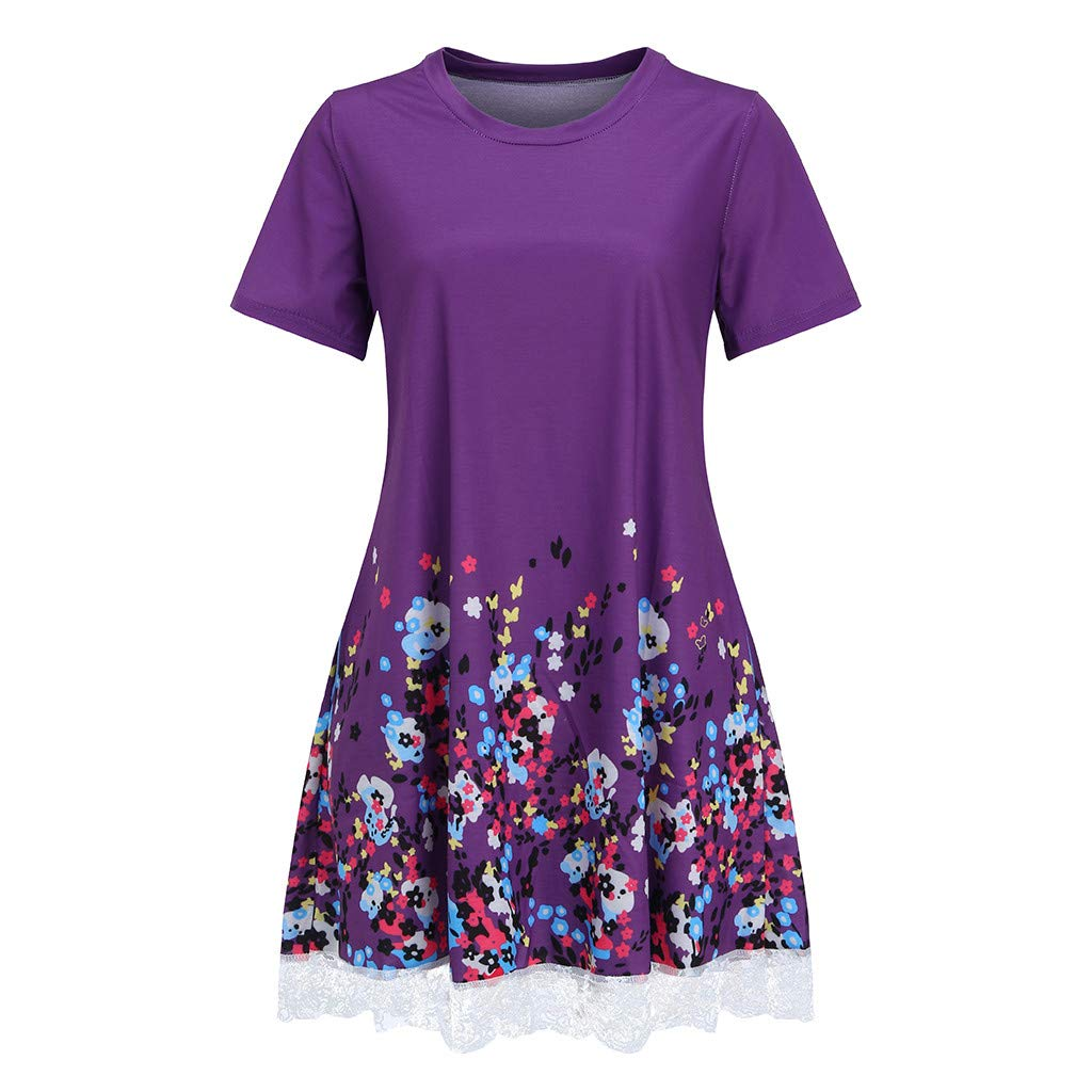 2019 Womens Lace Casual Print Dress Summer Short Sleeve Pocket O Neck Mini Loose Beach Dresses (Purple, M)