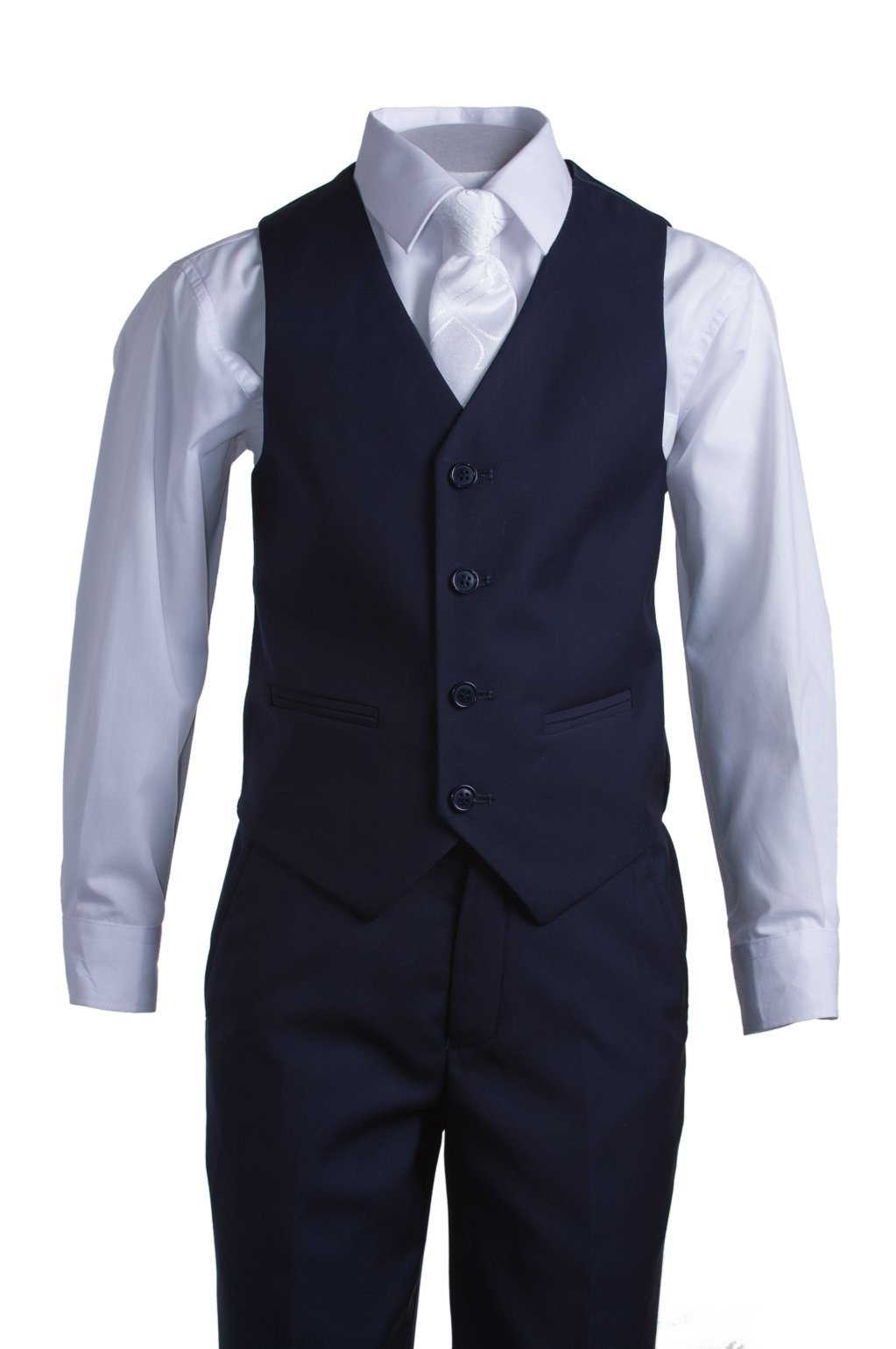 Boys Navy Blue Slim Fit Communion Suit with Vest & White Clergy Tie (10 Boys) by Tuxgear (Image #3)