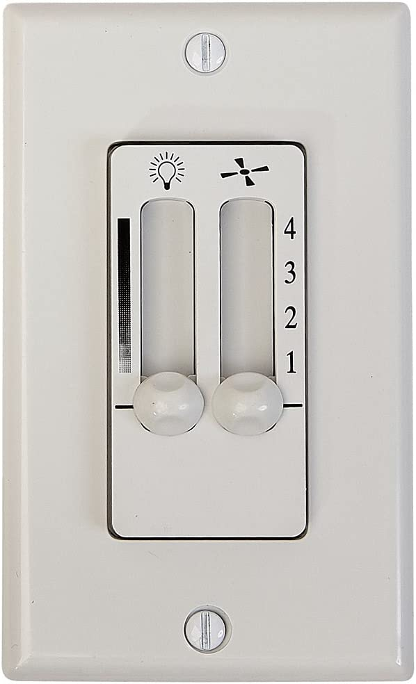 Hamilton Hills White 4 Speed Ceiling Fan Wall Control with LED Dimmer Light Switch | Wall Face Plate Included