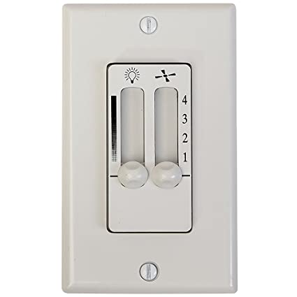 White 4 Speed Ceiling Fan Wall Control with LED Dimmer Light Switch ...