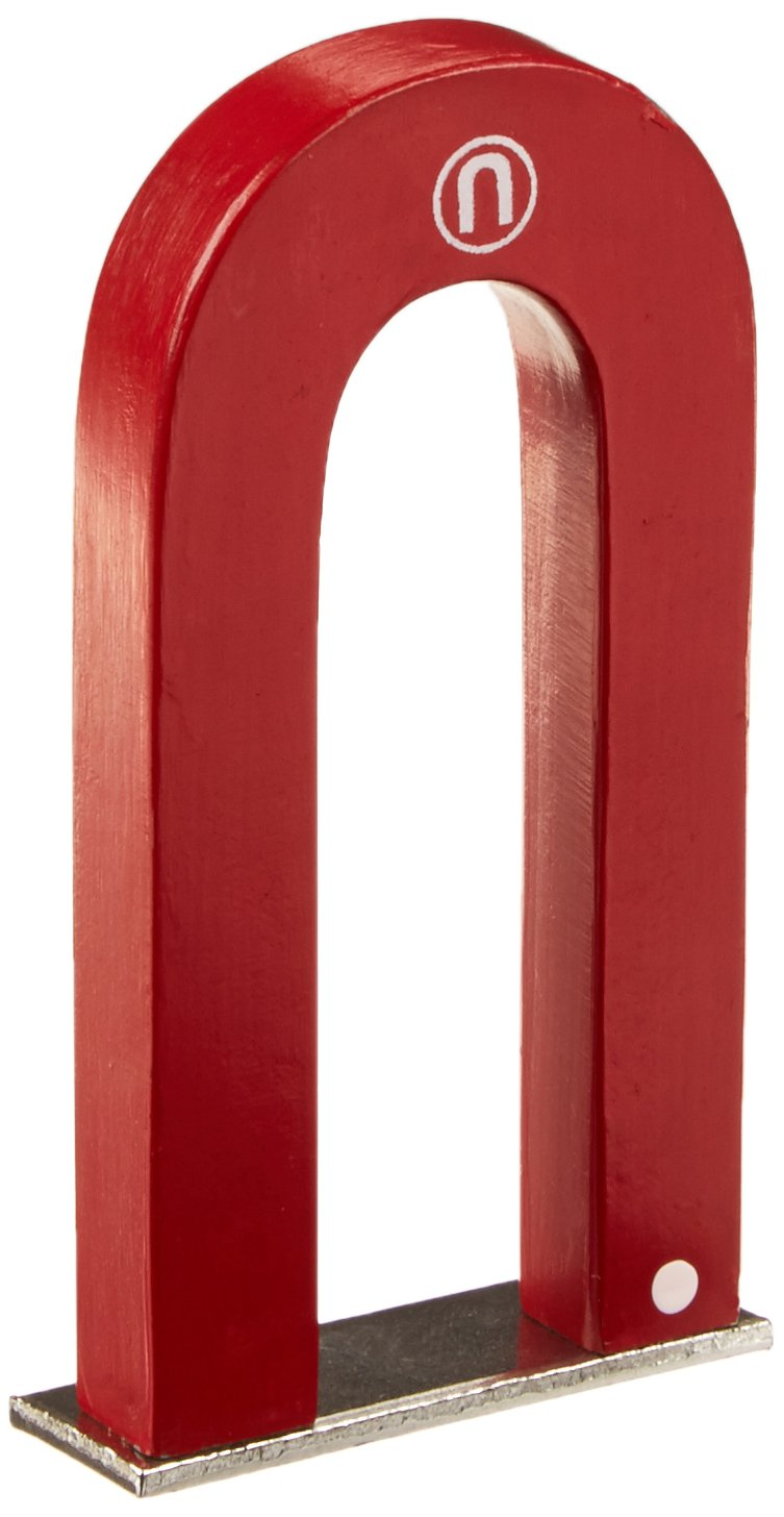 United Scientific MHS030 Red Alnico U-Shaped Magnet with Keeper, 3'' Size