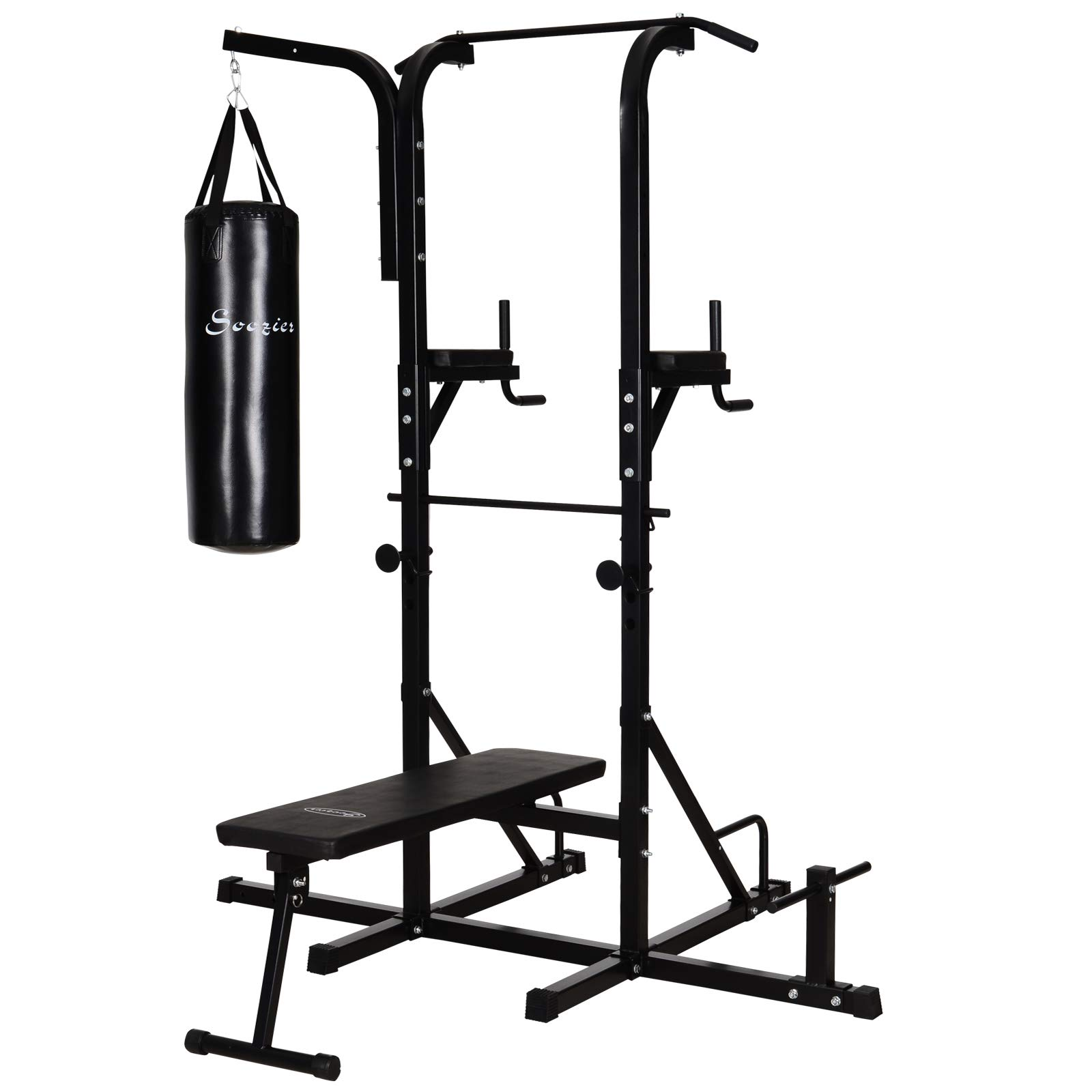 Soozier Home Gym Power Tower with Bench and Punching Bag, Multi-Function Adjustable Dip Sit Up Workout Station Equipment Heavy Duty for Home
