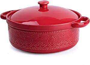 FE Casserole Dish with Lid, 2 Quart Ceramic Casserole Pan with Lace Emboss for Bakeware Oven (Red)