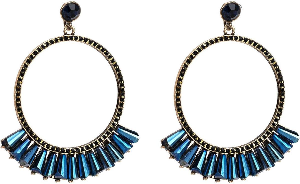 MDGWM Exquisito diseño de Abanico de Anillo, Elegantes aretes de Diamantes de aleación, 5.9 * 4.9 cm Azul