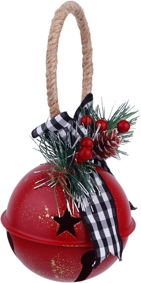 Milisten Christmas Jingle Bells Door Hanger Rustic Iron Star Bell with Bow Pine One Berry Vintage Door Knob Pendant Hanging Ornaments for Xmas Holiday Tree Doorway Decor