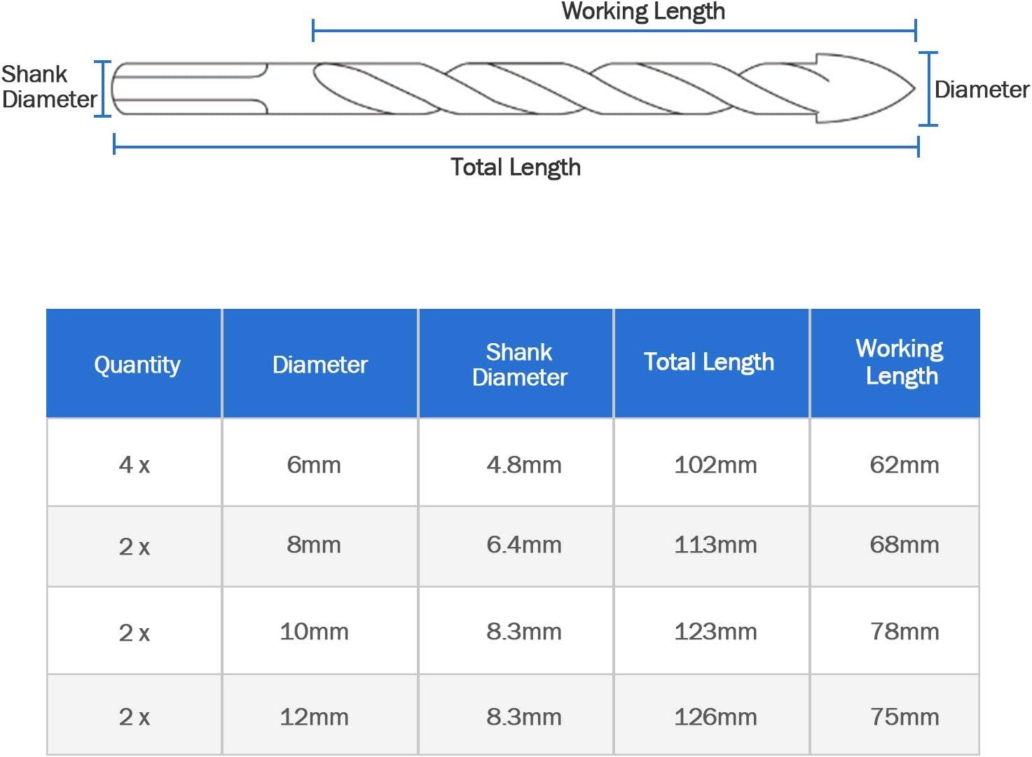 HQMaster Masonry Glass Tile Drill Bit Multi Drill Bit Set Tool for Ceramic Brick Concrete Wall Wood Plastic Cement Marble Mirror Block Stone Tungsten Carbide Tip Triangle Shank 6//8//10//12mm 10Pcs