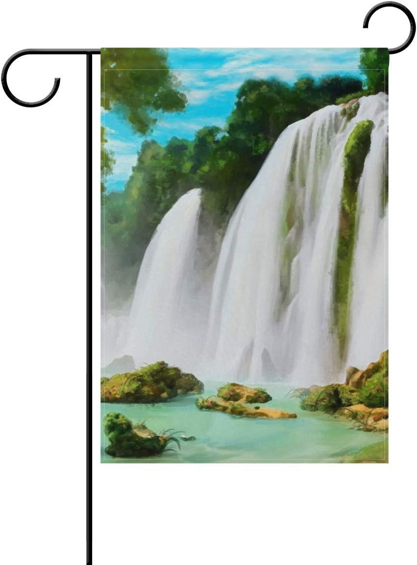 FAJRO - Bandera para jardín, diseño de Cascada de montaña, poliéster, 1, 28x40(in): Amazon.es: Jardín