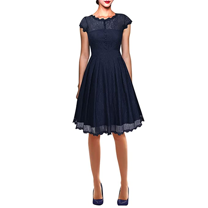 Dolamen Mujer Cordón Vestidos, Collar redondo Vintage y estilo retro, A-Line Swing