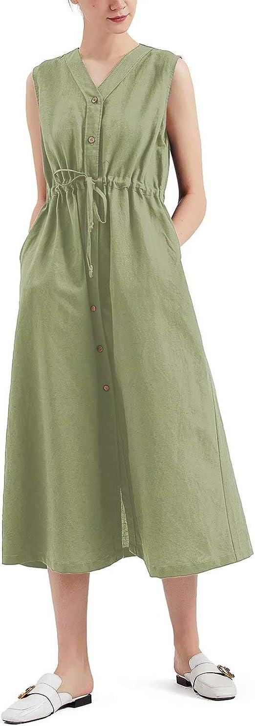 MEOMUA Women's Linen Dress Summer Button Down Sleeveless Plus Size Cotton Dress (S-5XL)