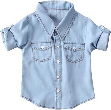 Camisa Manga Larga para Bebé Niños Camiseta Denim Tops Blusa ...
