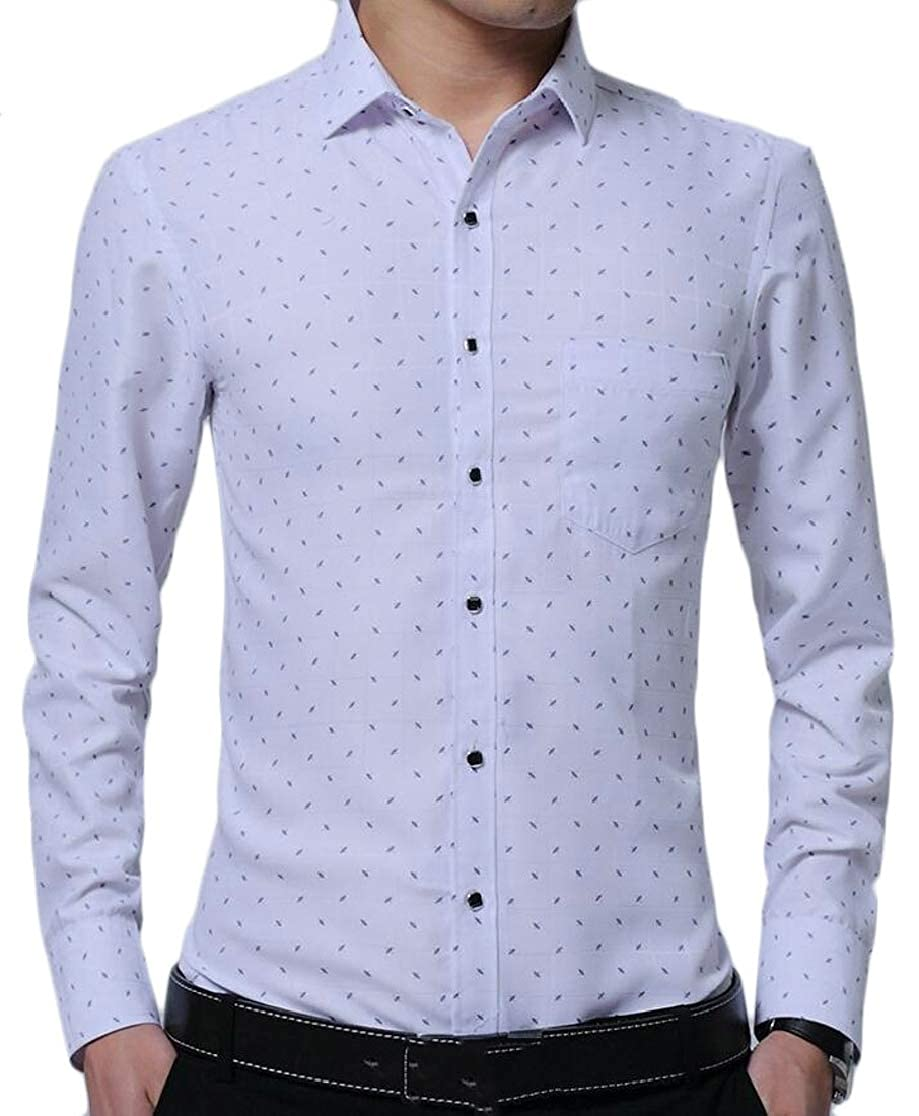 M/&S/&W Mens Formal Patterns Non-Iron Slim Fit Long Sleeve Point Collar Dress Shirts