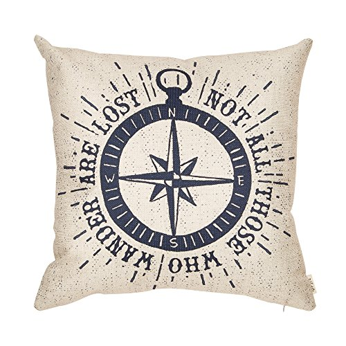 Fjfz Not All Those Who Wander Are Lost Inspirational Travel Quote with Nautical Compass Rose Vintage Cotton Linen Home Decorative Throw Pillow Case Cushion Cover with Words Sofa Couch, 18