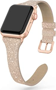 SWEES Leather Band Compatible for iWatch 38mm 40mm, Shiny Bling Glitter Matte Slim Thin Elegant Genuine Leather Strap Compatible with iWatch Series 6 5 4 3 2 1 SE Women, Glistening Champagne