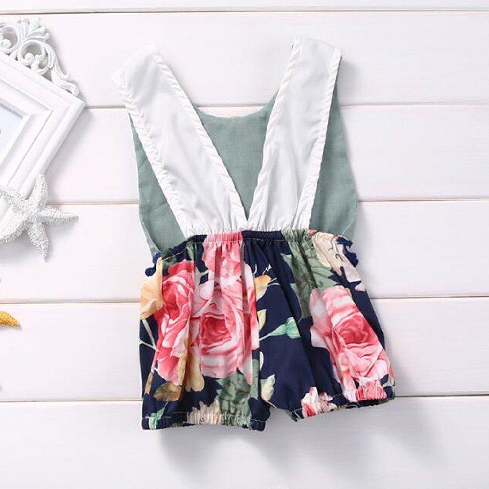 Mapletop Summer Sleeveless Floral Romper Elegant Jumpsuit for Girls Baby