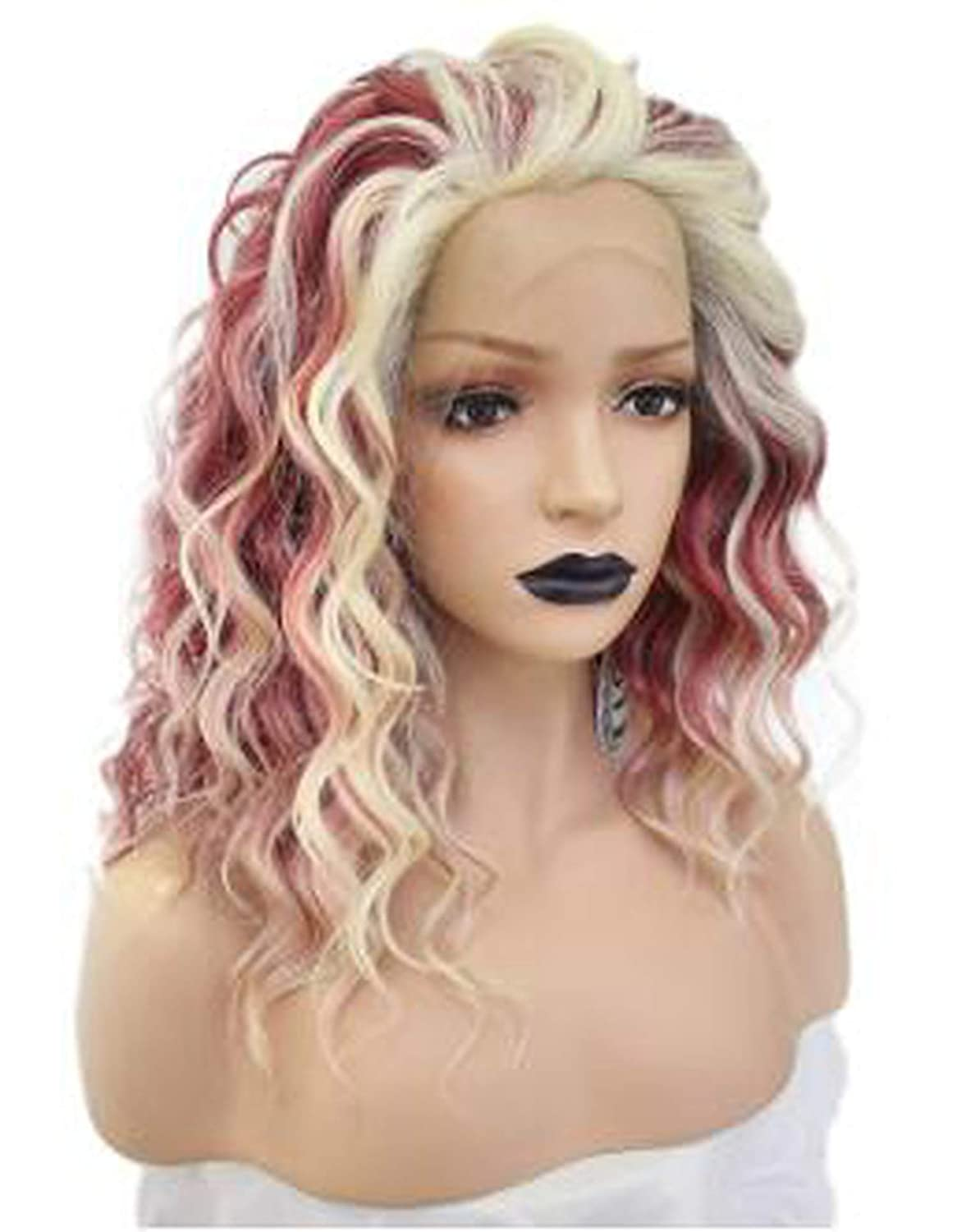 Pink Platinum Blonde Futura High Temperature Fiber Wigs Long Natural Wave Free Part Synthetic Lace Front Wig For Women-in Synthetic None,Pink,14inches