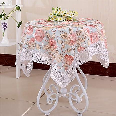 SUNNYAN Paño de algodón lado mesa de café mantel a cuadros tela ...