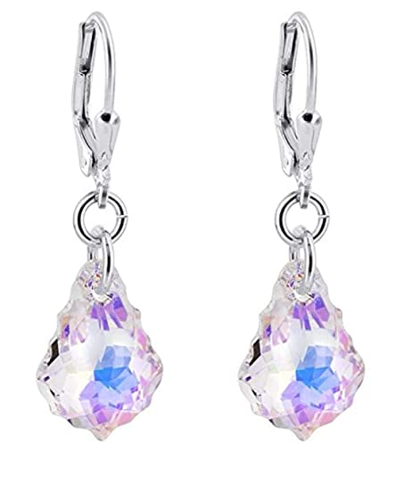 c75605cf6 Image Unavailable. Image not available for. Color: Sterling Silver Leverback  Dangle Earrings Clear Aurora Borealis Swarovski Elements Crystal ...