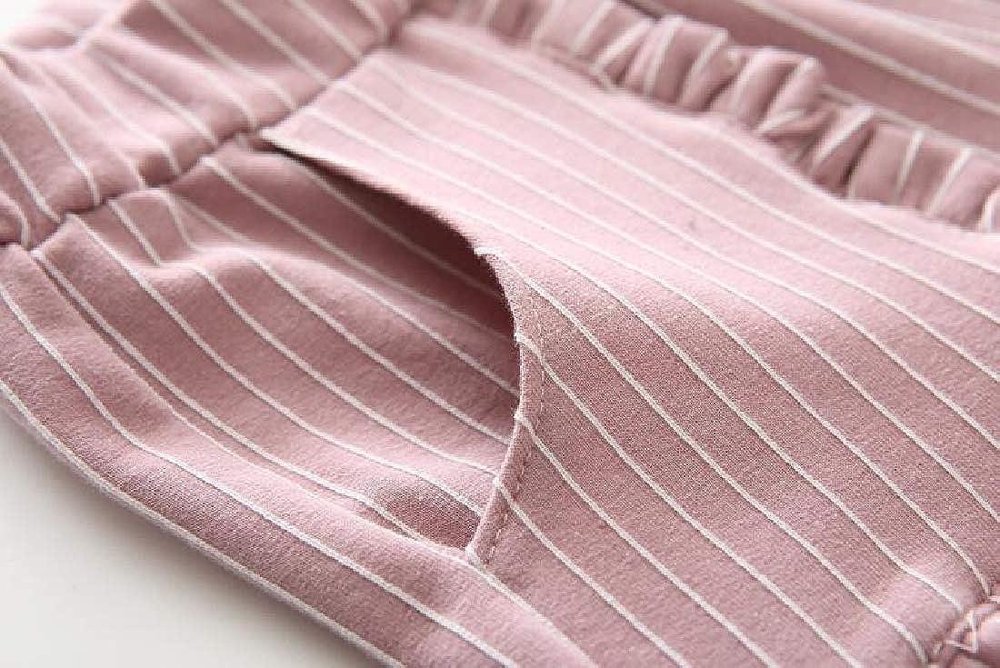 Hajotrawa Boy Or Girl Casual Ruffles Elastic Waist Stripe Jogger Pants Trousers