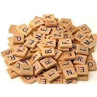 Heyuni. 100 Pcs Wooden Alphabet Scrabble Tiles Pieces Black Letters and Numbers For Crafts Pendants Spelling