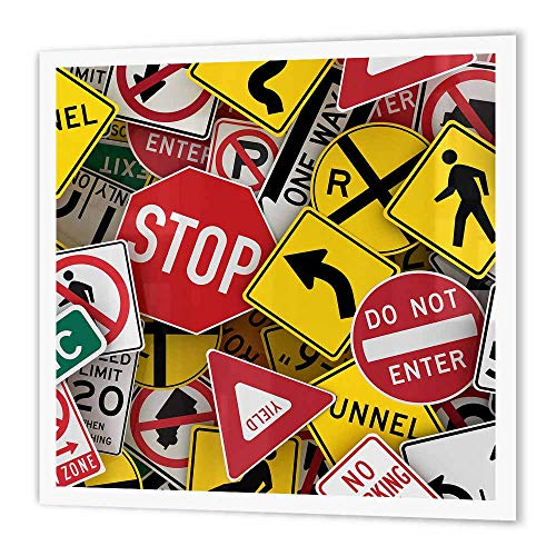 - 3dRose ht_155154_2 American Road Sign Signs Collage Street Stop Yield USA Iron on Heat Transfer, 6 by 6-Inch, for White Material