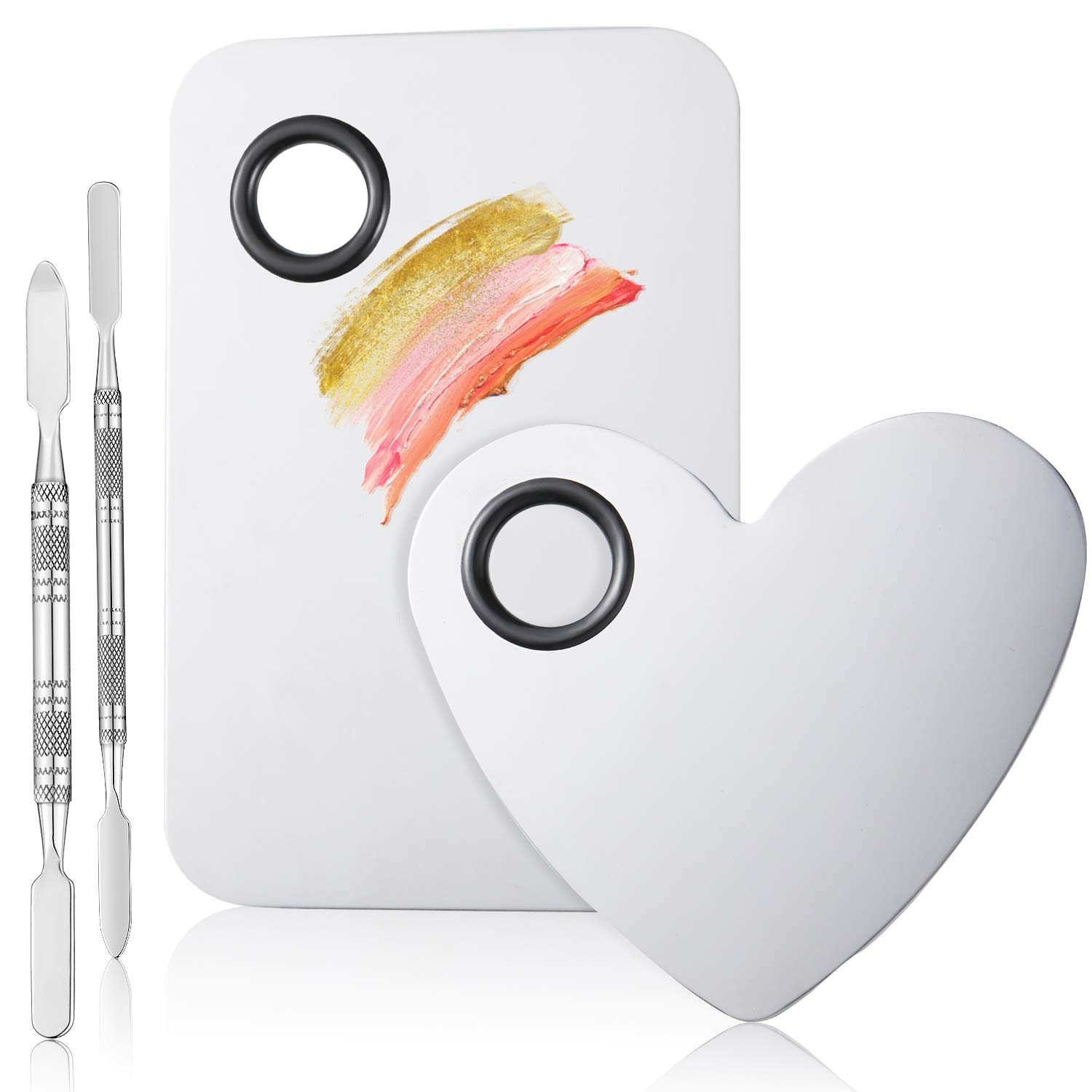 2 Sets Stainless Steel Makeup Mixing Palette with Spatula Tools Rectangle and Heart Shaped Cosmetic Palette for Nail Art Eye Shadow Eyelash Extension Pigment Blending Cosmetic Foundation Shades