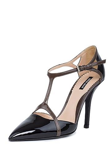 GIORGIO ARMANI Women Black Patent Leather Pointed Toe T-Strap Pumps Shoes  US 8.5 EU