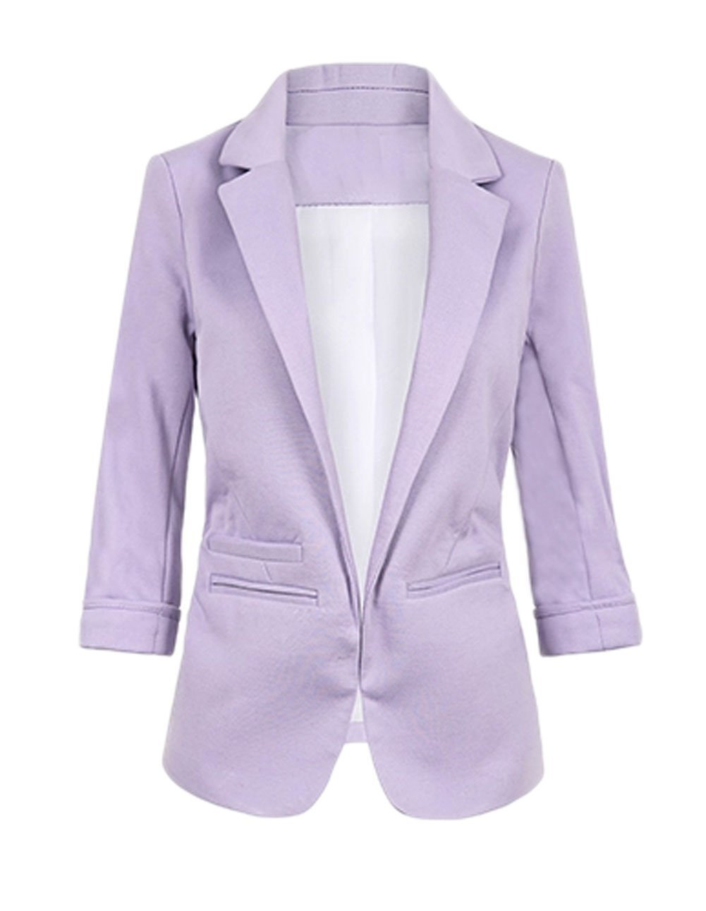Face N Face Women's Cotton Rolled Up Sleeve No-Buckle Blazer Jacket Suits Medium Purple