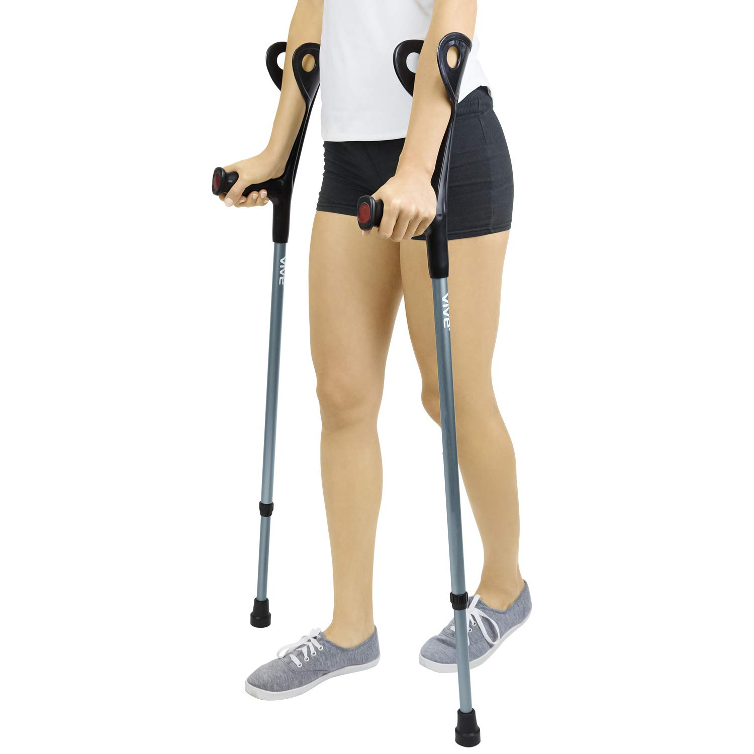 Forearm Crutches by Vive (Pair) - Lightweight Arm Cuff Crutch - Adjustable, Ergonomic, Heavy Duty for Standard and Tall Adults - Comfortable on Wrist - Molded, Non Skid Replaceable Rubber Tips