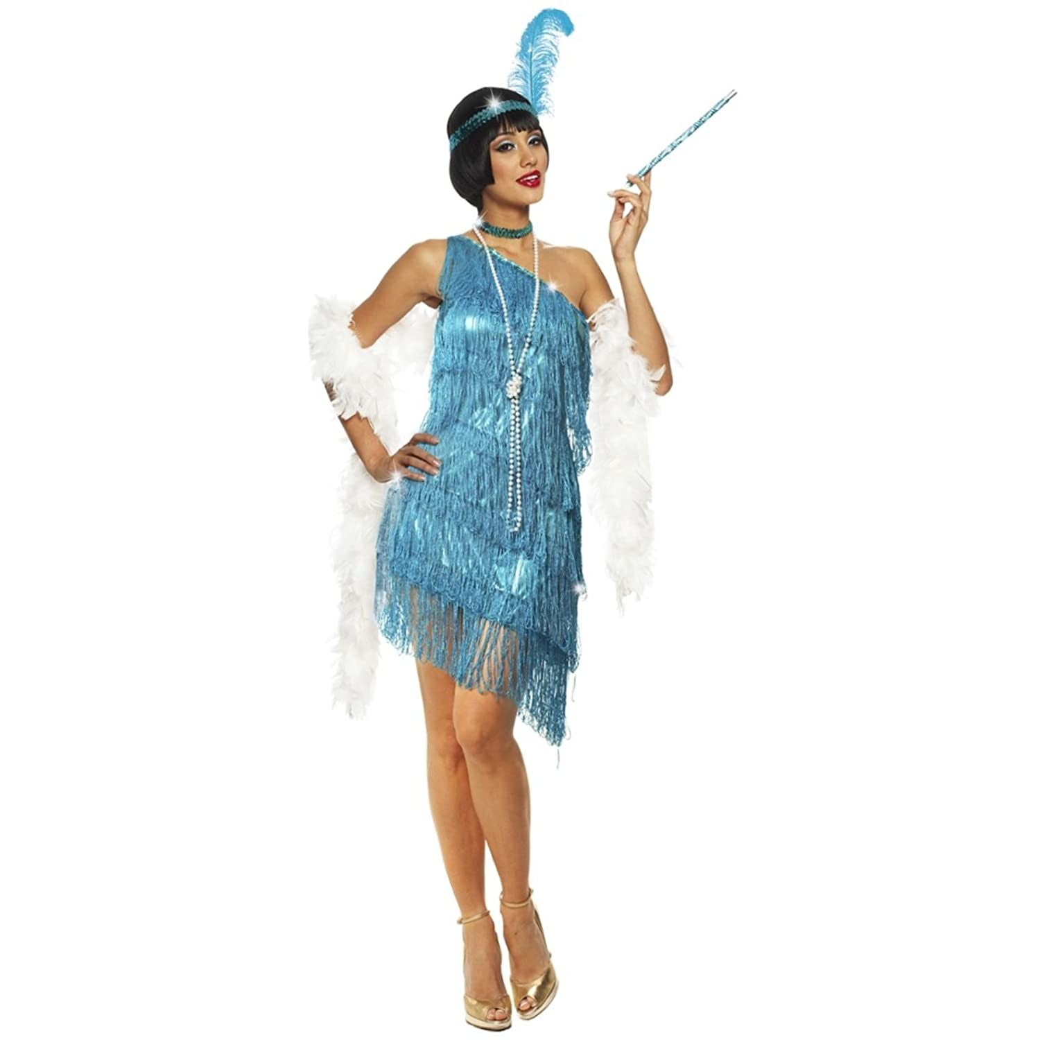 Amazon.com: Dazzling Flapper Adult Costume Turquoise: Clothing