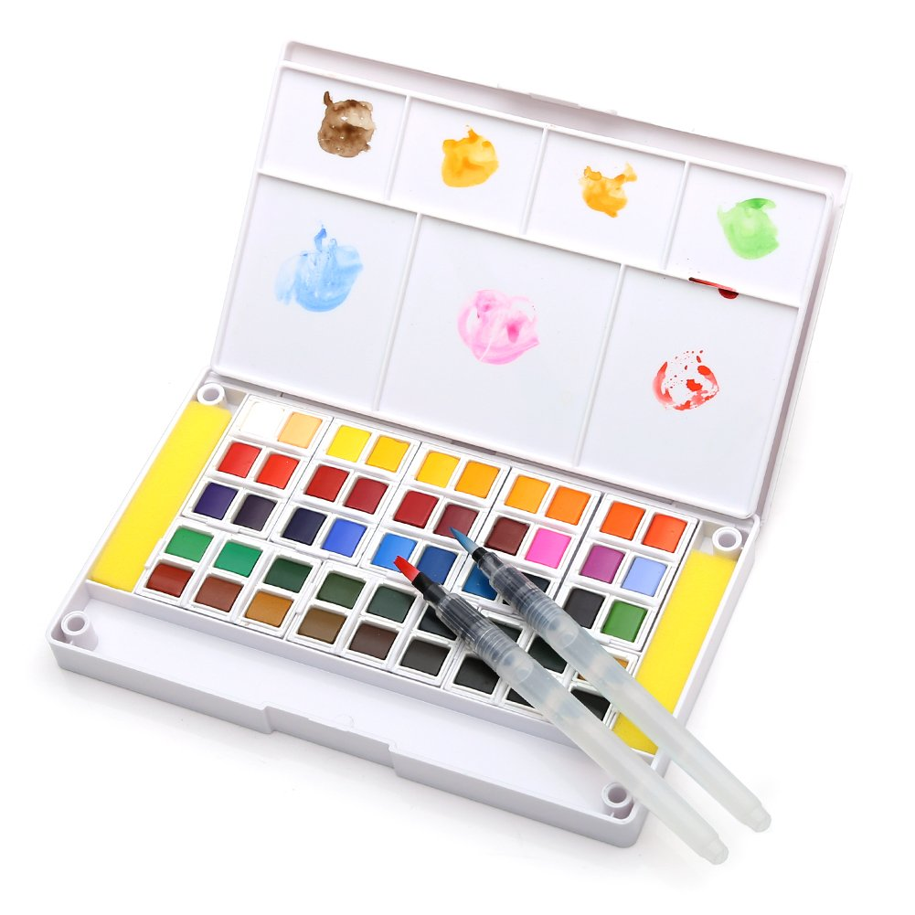 Dainayw Watercolor Paint Set, 48 Assorted Watercolors, Perfect Watercolor Pan Set, Travel Watercolor Kit Includes 2 Water Brushes, 2 Sponges & A Mixing Palette DN-48SC