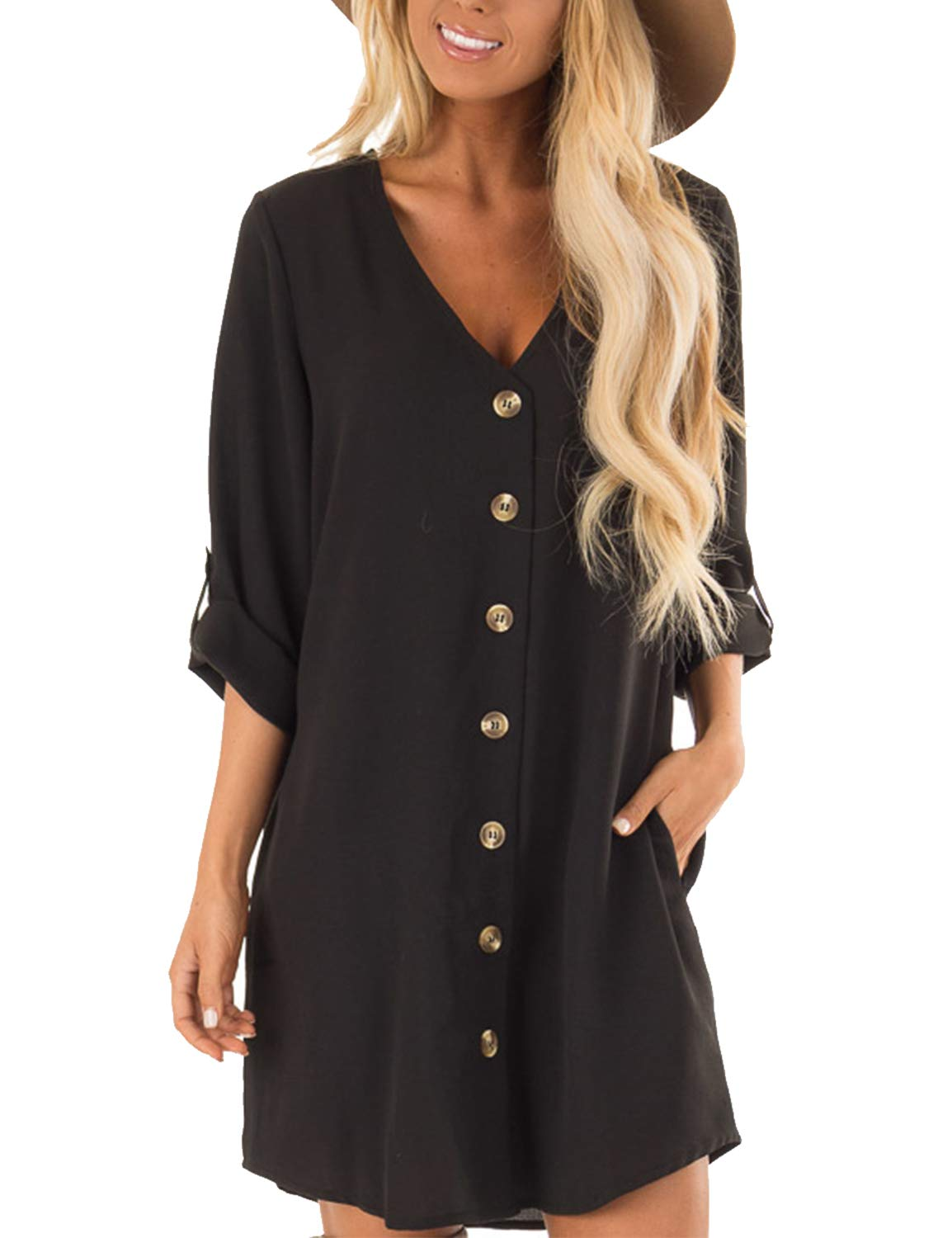 Blooming Jelly Women's Mid Sleeve V Neck Button Down Casual Mini Dress Black