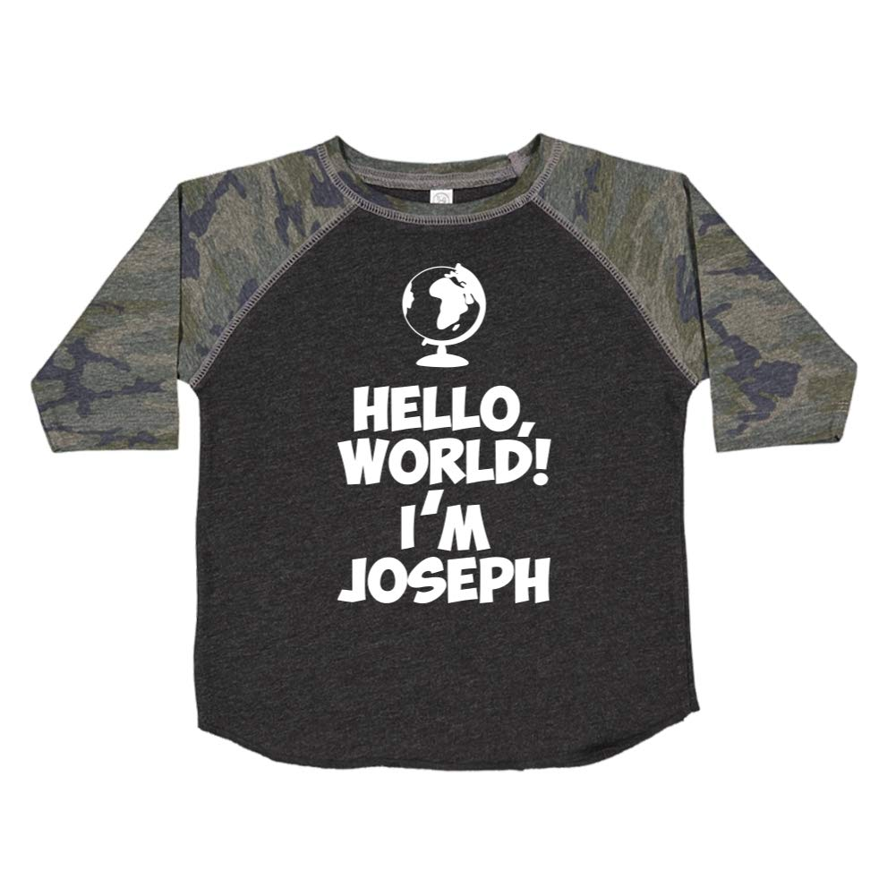 World Personalized Name Toddler//Kids Raglan T-Shirt Mashed Clothing Hello Im Joseph